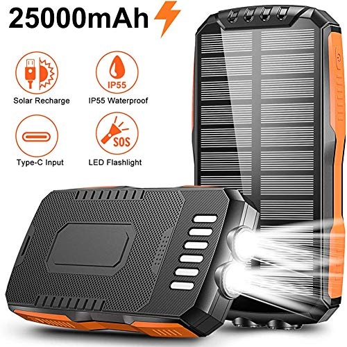 RH-ZTGY 25000Mahsolar Power Bank, Solar Portable Charger with Type C Port Input & 2 USB Outputs, External Backup Battery Pack Fast Charge with LED Flashlight