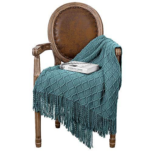 Coperta lavorata a maglia con nappa, coperta estiva per divano, letto e come coperta per guardare la TV o per l'ufficio, colore: verde