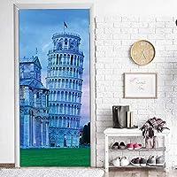 2枚3Dドア用のステッカー ルドアステッカ古代建築PVC 防水 貼ってはがせる装飾ドア壁画取り外し可能ビニールドア壁紙3D立体壁紙リビングルーム 寝室 ドア ステッカー77x200cm