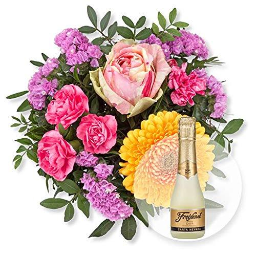 Blumenstrauß Mille Grazie und Freixenet Semi Seco