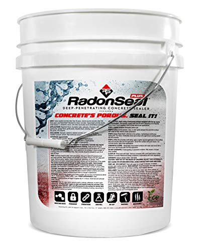 RadonSeal Plus Deep-Penetrating Concrete Sealer, Basement Waterproofing & Radon Mitigation in One | Seals Concrete Against Water, Vapor, and Radon Gas (5-Gallon)