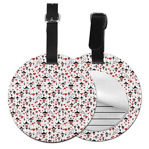 Round Travel Luggage Tags,Valentines Day Themed Love Illustration of Hearts with Asian Ornaments,Leather Baggage Tag