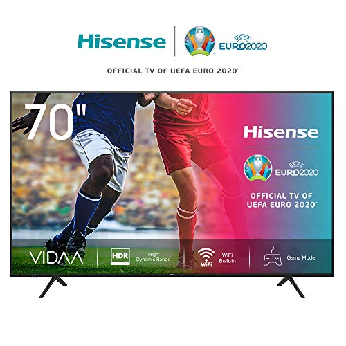 Hisense 70AE7000F 178 cm (70 Zoll) Fernseher (4K Ultra HD, HDR, Triple Tuner DVB-C/S/S2/T/T2, Smart-TV, Frameless, Bluetooth, Alexa, verstellbare Standfüße) [Modelljahr 2020]