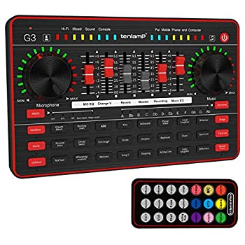 Live Sound Card TENLAMP G3 External Voice Changer Device Mini Sound Mixer Board with Multiple Sound Effects for Live Streaming/Music Recording/Singing/Broadcast on Cell Phone/Computer/Laptop/Tablet