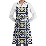 Delantal ajustable con bolsillo, diseño de azulejo mediterráneo, color azul...