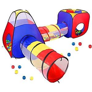 Opret Tienda Campaña Infantile 4 en 1 Pop-up Casita Infantil con Tunel Parque Infantile Plegable para Jardín y Casa, Regalo de Cumpleaños para Niños