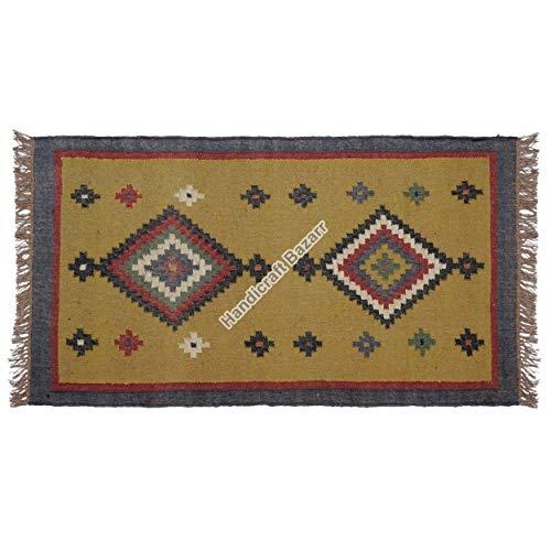 Handicraft Bazarr Alfombra de suelo para sala de estar, estilo vintage, de yute, de 3 x 5 pies, estilo bohemio, alfombra étnica, alfombra de Kilim, alfombra turca, alfombra de yoga