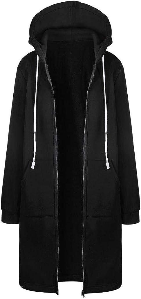Women Winter Warm Hoodie Zipper Cardigan Fashion Sweatshirt Long Coat Solid Color Jacket Tops Outerwear