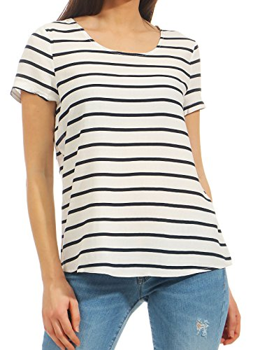 ONLY NOS Onlfirst SS Mix AOP Top Noos Wvn Camiseta sin Mangas, (Cloud Dancer W. Night Sky Stripes), 38 (Talla del Fabricante: 36) para Mujer