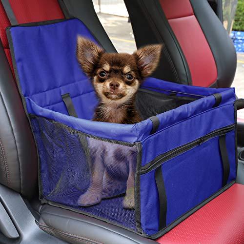 X AUTOHAUX Hunde Autositz für kleine mittlere Hunde,wasserdicht Vordersitz Hundesitz Autositzbezug mit Verstärkte Wände für Haustiere Reise Blau