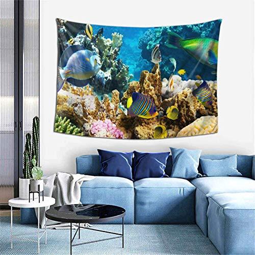 Sea Creatures World Bedding Tapisserie, 3D-Druck, Wandbehang, Wandteppich für Wohnheim, Wohnzimmer, Schlafzimmer (101,6 x 152,4 cm)