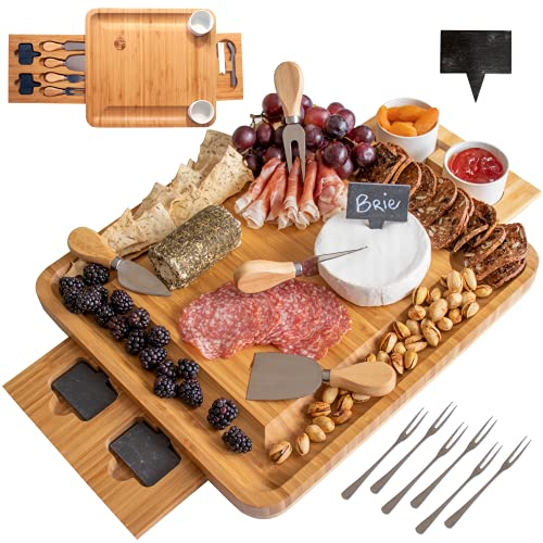 Frux Natural Bamboo Cheese Board and Knife Set. Wood Charcuterie Board Set is Ideal Serving Tray for Cheese, Meat, Crackers and Wine. Bowls, Cutlery and Accessories Included. Perfect Housewarming Gift