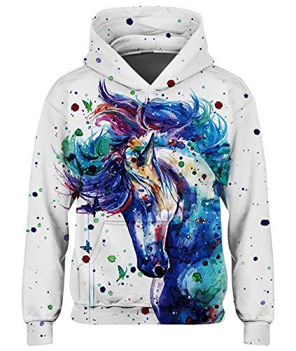 Spreadhoodie 3D Einhorn Hoody Pullover Kinder Weiße Unisex Hoodie Coole Junge Weihnachtspullover Sweatshirt Animal Kapuze Pullover Winter Clothing 8-11 Jahre