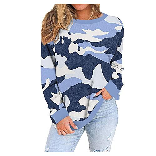 Camiseta de manga larga con cuello redondo suelto para mujer