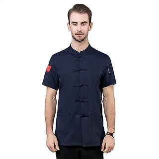 Senato Unisex Chef Coat, Chef Uniform, Stand-up Collar, Sleeve Pocket, White & Black & Wine Red & Navy Available, Sizes M ...