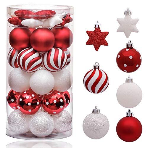 Victor's Workshop Palline di Natale Christmas Balls 35 Pezzi. 5 Centimetri Palline di Plastica Fissati Alberi di Natale Che Decorano L'Albero di Natale Ornamento per Le Celebrazioni Rosso Bianco