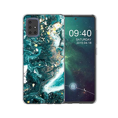 Shazikaihui Hülle Kompatibel mit Samsung Galaxy A71 Hülle Handyhülle Marmor TPU Silikon Weiche Schlank Schutzhülle Handytasche Flexibel Case Handy Hülle für Samsung A71 (Grün Weiß Flow Gold)