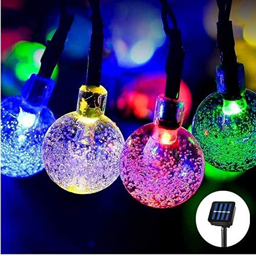 Fantasee Solar-Lichterkette, 30 LEDs, wasserdicht, Wassertropfen, für den Außenbereich, Garten, Terrasse, Garten, Weihnachten, Party, Dekoration 30LED - 21FT Bubble Ball - Multi Color