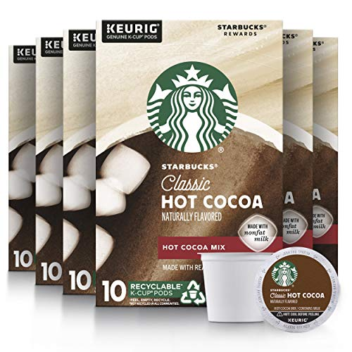 Starbucks Hot Cocoa K-Cup Coffee Pods Hot Cocoa for Keurig Brewers 10 Count (Pack of 6)