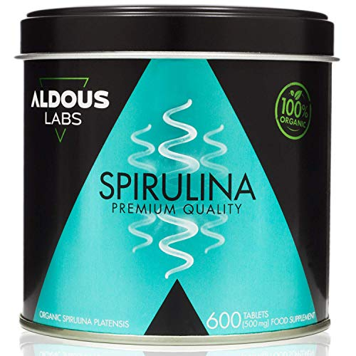 Spiruline Bio Premium | 9 Mois de Traitement | 600 Comprimés de 500 mg | Riche en Protéines, Antioxydants, Phycocyanine | Protéine Végétale | Spirulina Certifié BIO | Végan | Zéro Plastique.