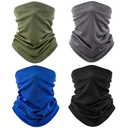 TERSE 4 Pezzi Scaldacollo, Multiuso Fascia Bandana Elastica Scaldacollo [Resistente ai Raggi UV/Traspirante/Ultra Sottile] per Ciclismo Biker (Verde Militare, Blu, Grigio, Nero)