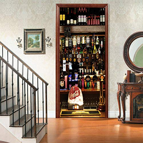 WZKED Etiqueta Engomada del Arte Mural De La Puerta 3D Botella De Cerveza 77X200Cm Vinilo Extraíble Murales De Papel Decorativos para El Hogar Baño Sala De Estar Dormitorio Decoración