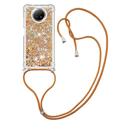 MRSTER Funda con Cuerda para Xiaomi Redmi Note 9T, Bling Glitter Líquido Carcasa Moda Ajustable Collar Correa Protección Case para Xiaomi Redmi Note 9T 5G. LP Love Gold