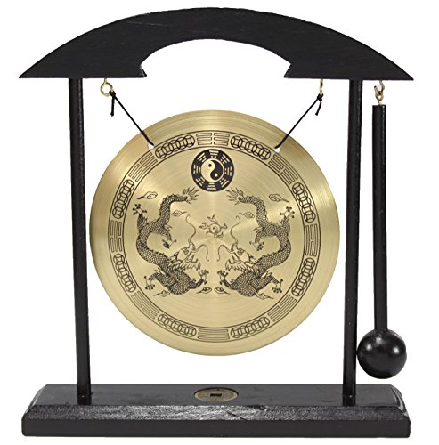 Dragon Zen Table Gong Feng Shui Meditation Desk Bell Home Decor Housewarming Congratulatory Blessing Gift (Dragon Gong-WDC970)