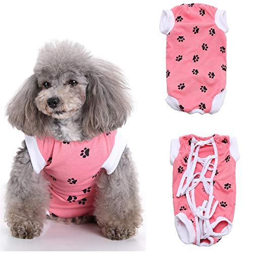 DC CLOUD Ropa para Gatos Pequeños Pijamas para Perros Pequeños Traje quirúrgico para Perro después de castrar Perro quirúrgico Chaleco Pink,Small