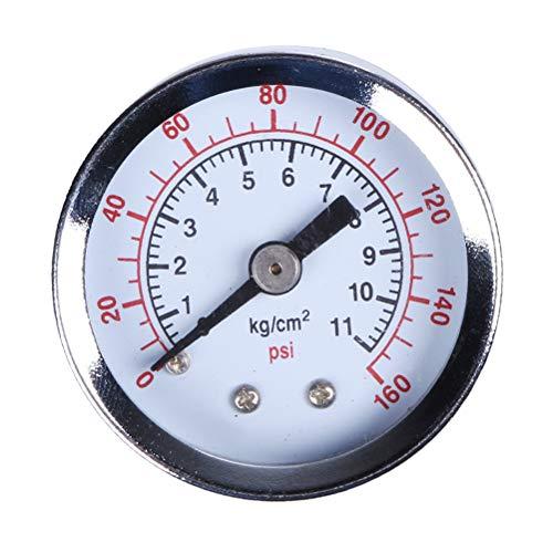 Hemobllo Unterdruckmanometer für Unterdruck-Kompressor mit 0-160 Psi-Bar-NPT-Seitenmontage