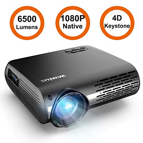 Projector, WiMiUS P20 Native 1080P LED Projector 6500 Lumen Video Projector Support 4K Video Zoom Function ±50°Digital Keystone Correction 70,000 Hrs for Home Entertainment & PPT Business Presentation