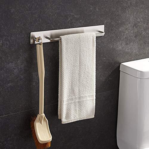 Handtuchhalter mit Haken aus gebürstetem Edelstahl, selbstklebend ohne Bohren zu montieren für Bad und Küche, 34cm Breite, von Ruicer