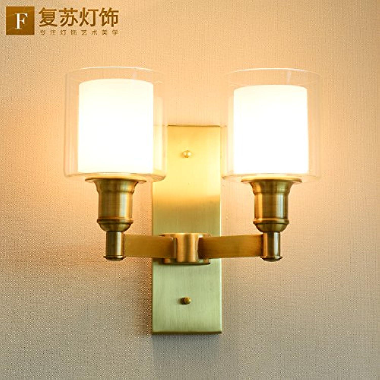 StiefelU LED Wandleuchte nach oben und unten Wandleuchten Kupfer Wandleuchte Schlafzimmer Nachttischlampe im Wohnzimmer, Treppe Flur leuchten, Dual-Kopf voll Kupfer B
