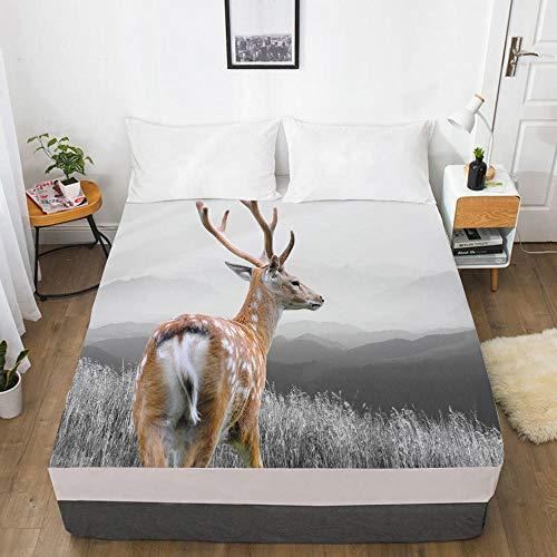 HNLHLY Mattress Protector Double 3D Digital Home Textile Factory 360 Degree Li Mattress Protective Cover Animal Elk-Elk 007-White-F_152X203X40Cm