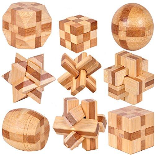 Holzsammlung 9 Pièces 3D IQ Puzzle Esprit Test Casse-tête...