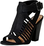 SODA Delicious Yummy Cutout Stacked Heel Sandal,Black,5.5