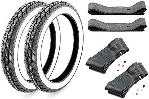 Set 2X Kenda Weißwand Reifen K418 2,75-17 Zoll - 2X Schlauch 2X Felgenband