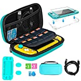 TSBEAU Protective Nintendo Switch Lite Carrying Case With Card Slots, TPU Case Cover, PU Hard Case Cover, Tempered Glass Screen Protector, USB Cable, Thumb Stick Caps & Accessories, Turquoise