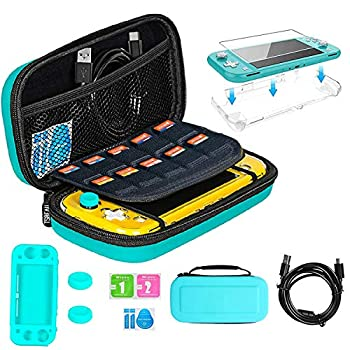 TSBEAU Protective Nintendo Switch Lite Carrying Case With Card Slots TPU Case Cover PU Hard Case Cover Tempered Glass Screen Protector USB Cable Thumb Stick Caps & Accessories Turquoise