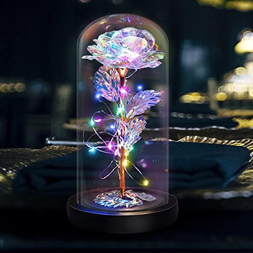 QLG&S - Cúpula de cristal rosa encantada, color rosa, flores artificiales de regalo para siempre, novia, día de San Valentín, boda, aniversario, día de la madre