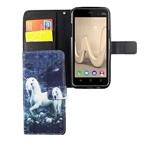 König Design Handyhülle Kompatibel mit Wiko Lenny 3 Handytasche Schutzhülle Tasche Flip Hülle mit Kreditkartenfächern - Einhorn auf Wiese Weiß Grün