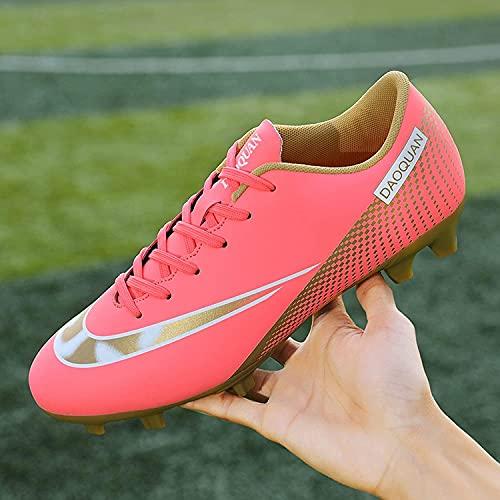 XRDSHY Zapatos De Fútbol, Botas De Fútbol Antideslizante para Niños Y Hombres, Al Aire Libre Zapatos De Fútbol Duradero TF/AG Sneaker Atlético,Pink-46 EU