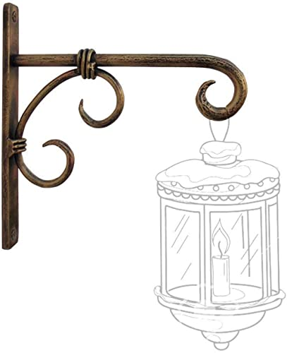 WOOD ART STORE Golden Antique Wall Bracket for Bird Feeders & Houses Planters Lanterns Wind Chimes Hanging Baskets Or...