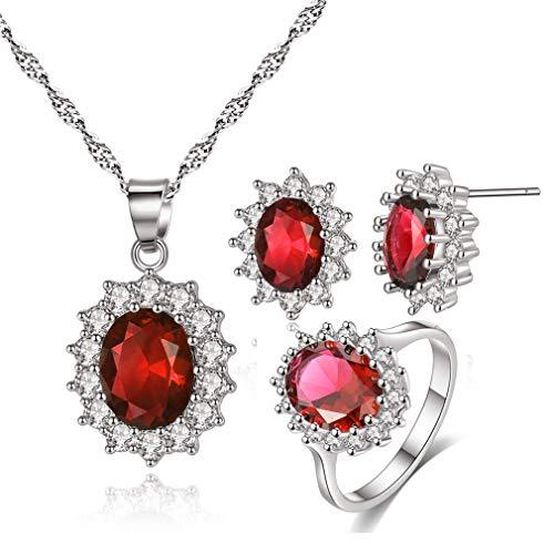 YAZILIND Princesa Diana Kate Middleton Oro Blanco Plateado Oval Pendientes de Gota de Cristal/Collar/Anillo Conjunto de Joyas Rojo Tamaño de EE. UU. 9