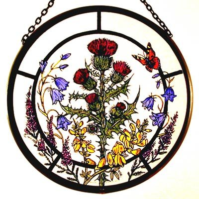 Decorative Hand Painted Stained Glass Window Sun Catcher/Roundel in a Scottish Flowers Design