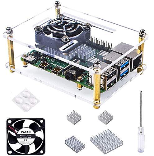 Bruphny Case per Raspberry Pi 4B, Case con Ventola di Raffreddamento e 3 Dissipatori di Calore per Raspberry Pi 4 Modello B/ 3B+/ 3B/ 2B ( La piastra Raspberry Pi non è inclusa )