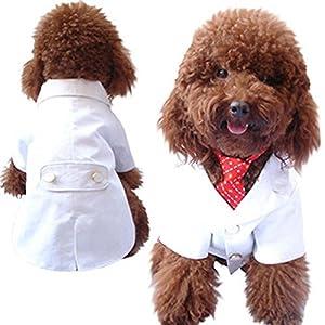 SKJIND Puppy Costume de mariage Vêtements, Blanc épais Chien Tuxedo Costumes avec Rouge Nœud papillon formelle tenues de fête, coupe de Malte, Pinscher nain, Toy Poodle