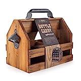 BARGIFTS Wooden 6-Bottle Caddy with Bottle Opener, build in aRemovableMiddleDivider Metal Bottle Opener