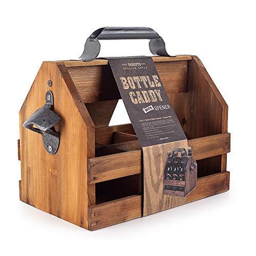 BARGIFTS Wooden 6-Bottle Caddy