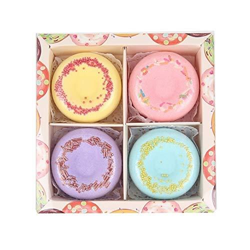 Xiton Bombes De Bain Coffret Cadeau 4 Packs Donut Naturel Kit Spa Fizzies Huiles Essentielles Naturelles Bombe De Bain Bubble Fizzies Cadeau IdéAl Pou
